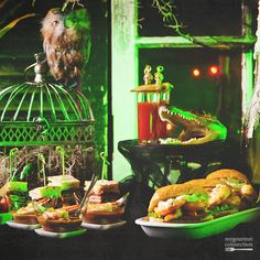 Our Voodoo on the Bayou themed Halloween party features a spooky, Louisiana swamp decor and Cajun-style cuisine served up in appetizer-sized portions.