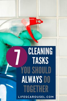 Check out this list of cleaning tasks that you can do together to quickly clean your home. 1 minute, 5 minute or even 15 minute cleaning hacks to get your home clean quicker and easier. Whether it's monthly, weekly or daily cleaning you can speed clean your home with cleaning duos!