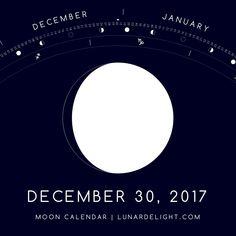 Saturday, December 30 @ 17:26 GMT  Waxing Gibboust - Illumination: 92%  Next Full Moon: Tuesday, January 2 @ 02:25 GMT Next New Moon: Wednesday, January 17 @ 02:18 GMT