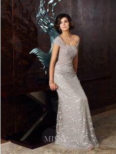 A-Line/Princess Sleeveless Off-the-Shoulder Chiffon Floor-Length Applique Dresses