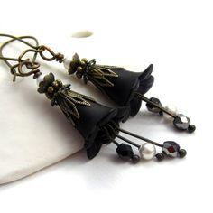 Black Lucite Flower Earrings. Beaded Jewelry. Lucite Flower Jewelry. Gothic Earrings. Victorian Earrings. Antique Brass Filigree. on Etsy, $17.00