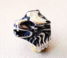 wolf ring heavy sterling silver 925 man biker by AbuMariamJewels