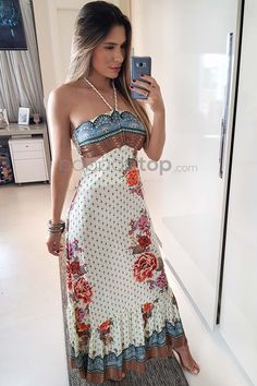 Long Summer Dresses, Summer Outfits, Casual Dresses, Fashion Dresses, Off White, Frocks, Ideias Fashion, Strapless Dress, My Style
