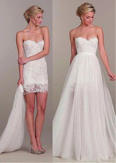 Elegant Tulle Sweetheart Neckline 2 In 1 Wedding Dress With Lace Appliques
