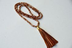 Metallic Brown Tassel Necklace by JennyMichelleDesigns on Etsy