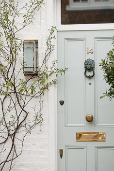 Pale blue front door color with white brick exterior Doors, Interior And Exterior, House Painting, House Colors, Grey Front Doors, Transitional House, Painted Front Doors, Exterior Colors, Painted Brick