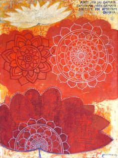 """""""Garimo does flowers"""" period. Inspiration to paint flowers produced this series where i painted classic Buddhist lotus line patterns onto my usual rich textured backgrounds. In Peace Flowers 1 and 5 i included one of the highest prayers, a sanskrit mantra """"Asato Ma Sad Gamaya…"""" (Out of the darkness into the Light). My intention was […]"""