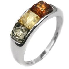 Noda - Anello a 3 Pietre, Argento Sterling e Ambra, multicolore, cod. Thing 1, Amber Ring, Size 10 Rings, Jewelry Stores, Sterling Silver Rings, Jewelery, Rings For Men, Jewelry Making, Gems