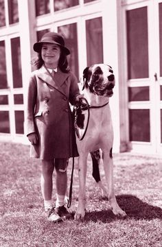 Jacqueline Bouvier with her Great Dane, King Phar.