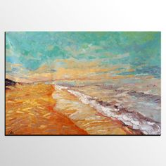 Abstract Painting Abstract Art Seashore Beach Oil by Topart007