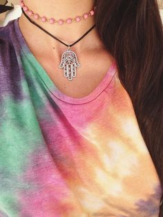 Charm Choker necklace. Choker. Hamsa, buddha, crescent moon, planet, om & sun charms.