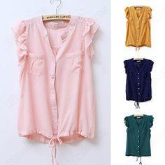 Chiffon Loose Style Ruffle Standing Collar Short Sleeve Shirt