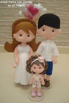 bonecos Família Personalizada em feltro                                                                                                                                                                                 Mais
