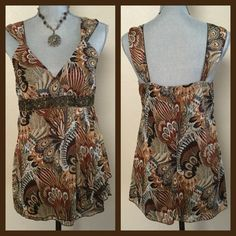 Beautiful Multi-Colored Tank Style Top Tank Style Top with decorative waistband trim.  Colors include brown, rust, yellow gold, teal green, cream and olive green with gold threading.  100% Polyester and brown lining inside. Dress Barn Tops Tank Tops