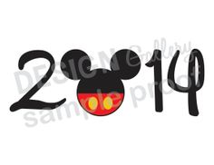 Mickey Mouse 2014 New Years DIY Printable Iron On t shirt Transfer Instant Download Disney Disneyland