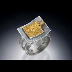 Ring: Nina Mann: Gold, Silver, & Stone Ring - Artful Home