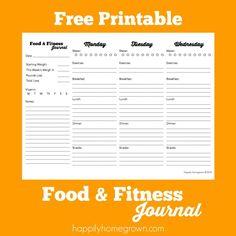 Free Printable Food Journal  Fitness    Food Journal