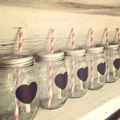 Mason jar glass #heart chalkboard labels #paper straws