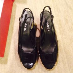 Vanellie Black Slip Ons Wedge peep-toe sling backs. Patent leather. In good condition and comes with original box! feel free to make an offer! Vanelli  Shoes Sneakers