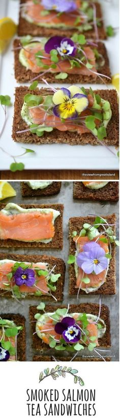 Open Faced Smoked Salmon Sandwiches Decorate your sandwiches with edible flowers for a special occasion!Decorate your sandwiches with edible flowers for a special occasion! Tapas, Smoked Salmon Sandwich, Afternoon Tea Parties, Think Food, Tea Sandwiches, Finger Sandwiches, Edible Flowers, Snacks, Tea Recipes