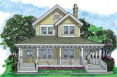 Farmhouse Style House Plan - 3 Beds 2.5 Baths 1479 Sq/Ft Plan #47-421 Exterior - Front Elevation - Houseplans.com