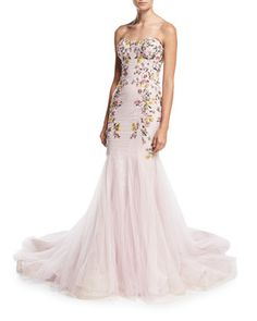 Strapless+Embroidered+Mermaid+Gown,+Blush+by+Marchesa+at+Neiman+Marcus.