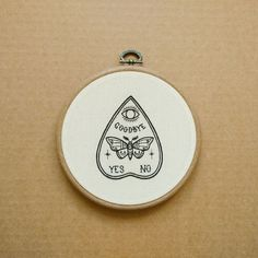 Ouija Planchette with Moth - Butterfly detail Hand Embroidery Hoop Art (tattoo modern embroidery wall hanging)