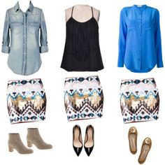 Aztec Sequin Mini Skirt 3 Ways!