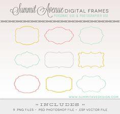 Digital Frames & LABELS digital Clip Art -   for photography, scrapbooking and logos. $4.00, via Etsy.