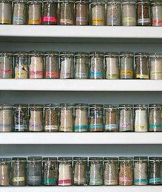 sand jars on shelves