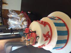 Red wagon baby shower cake