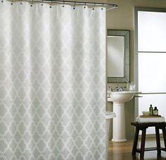 Amazon.com: Cynthia Rowley Grey Moroccan Tile Quatrefoil Ombre 100% Cotton Fabric Shower Curtain Lattice Gray: Home & Kitchen