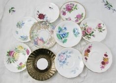 10 Mismatched Saucers, Bone China, Vintage, Shabby Chic, Cottage Style, Wedding or Event, Tea Party, Bridal Shower, Baby Shower