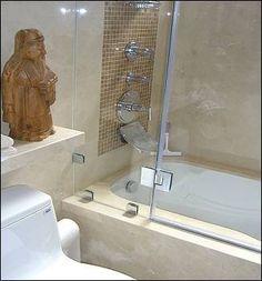 Accent Tile Stripe Design Ideas, Pictures, Remodel, and Decor Bathtub With Glass Door, Bathtub Doors, Bathtub Shower, Asian Bathroom, Bathroom Ideas, Bathtub Enclosures, Orange Color Schemes, Entryway Storage, Laundry In Bathroom
