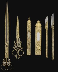 An Ottoman set of damascened calligrapher's tools, XIX century