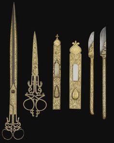 Instrumentos de calígrafo turcos otomanos, incluyendo cuchillas y tijeras - Siglo XIX