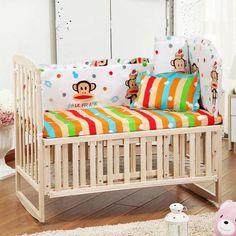 5PCS Newborn Baby Bedding Set Baby Crib Bedding Set With Bumper Baby Crib Bumper Baby Cot Sets Kids Bed Bumper 90x50cm CP01S
