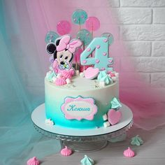 Minni Mouse Cake, Minnie Mouse Birthday Cakes, Minnie Cake, Buttercream Cake, Fondant Cakes, Cupcake Cakes, 1st Birthday Cake For Girls, Baby Birthday Cakes, Cute Cakes