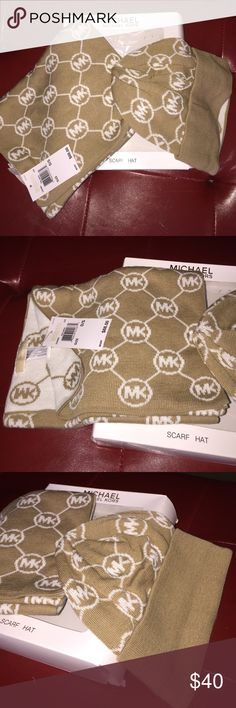 NEW 2pc MK Gift Set Hat & Scarf + FREE GIFT 🎁 Brand new with tags just found 1 in stock! No offers please price is FIRM. Authentic Michael Kors winter knit scarf and beanie hat gift set. Includes MK gift box. MK Logo in tan cream and white. Retails $88! Includes FREE GIFT 🎁 7 piece professional makeup brush set! Perfect gift for MK lover 💗💝💝 ships same day! Will be making several trips to the post office today to get in time for xmas! Michael Kors Accessories Scarves & Wraps