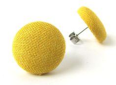 Mustard yellow stud earrings button spring bright by KooKooCraft.deviantart.com on @deviantART