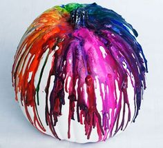 Melted Crayon Pumpkin (10 Ways to Decorate Pumpkins without Carving)
