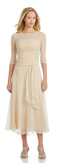 Romantic Champagne Tea Length Mother of the Bride Dresses @Eleventhdress