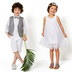 Bermudas de cerimónia em algodão e linho, para menino