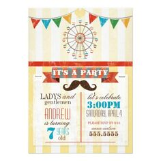 Circus Theme Childrens Birthday Party Personalized Invitations fete flyer would be nice with this