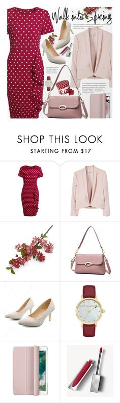"""Spring Office Style (work wear)"" by beebeely-look ❤ liked on Polyvore featuring MANGO, Crate and Barrel, Kate Spade, Burberry, WorkWear, polkadot, ruffles, officestyle and twinkledeals"