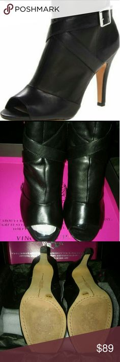VINCE CAMUTO 9 1/2 LEATHER SHOE BOOTIE Size 9 1/2 M (Kina) These Open Toe Shoe Boots are in EXCELLENT used condition!! Literally Worn Only Two Times!! They are made of the most soft buttery leathery and we all know Vince Camuto shoes are always made of the the highest quality materials... I really Love these but I needed a wide width and these are medium width...  Price is firm however I am always open to reasonable offers... Shipping is included in the price...  Thanks for visiting Lisa J's…