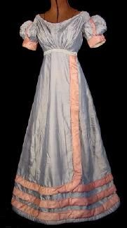c 1820s Blue Silk Ballgown with Rouleau Trim ---- reminds me so much of the fashions in Frances Grimble's compilation book of this period!