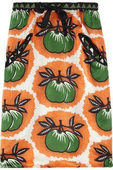 I like the fun, bright print on this Easton Pearson silk-satin skirt Textiles, Fabric Embellishment, Satin Skirt, Fashion Fabric, Clothes Horse, Fashion Outlet, Printed Silk, Silk Satin, Printing On Fabric