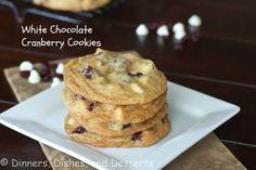 White Chocolate Cranberry Cookies @Dinnersdishesdessert