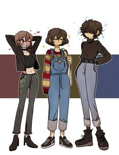Chara,Frisk and Kris (fem version i guess) Undertale Cute, Undertale Fanart, Undertale Comic, Undertale Cosplay, Cartoon Art Styles, Cute Art Styles, Drawing Cartoon Faces, Drawing Anime Clothes, Manga Clothes